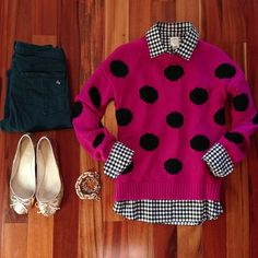 Wearing today, but in reverse. Black and white polka dot w/ pink gingham shirt/black skirt. I love mixing patterns!