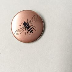 Manchester Worker Bee Beekeeper pin button badge - Copper metallic