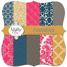 "Ammersee Digital Paper Set FOR Scrapbooking Pack of 10 12"" x 12"" 300 DPI by Mally Mac and Me, on Etsy $4.99"