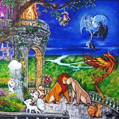 Acrylique/peinture/Disney/Pokémon/Olaf/Goupix/Mushu/Phoenix/Roilion/Mulan/Reinedesneiges/WaltDisney/Lagedeglace/Scrat/contemporain/peinture/réalisme/tableau/acrylique/illustration/graphisme/paint/poppix' 100x100cm Toile Disney, Illustration, Olaf, Painting, Acrylic Board, Black N White, Graphic Design, Contemporary, Paint