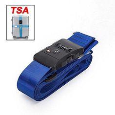 BlueCosto (Blue) TSA Lock Adjustable Cross Luggage Straps Suitcase Travel Bag Belts 600003-BLU