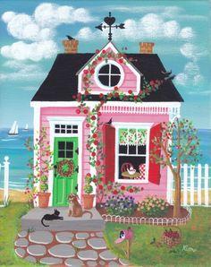 Cherry Lane Cottage Folk Art Print por KimsCottageArt en Etsy