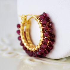 Genuine rhodolite garnet earrings raspberry gemstone hoops semiprecious stone wire wrapped gold vermeil jewelry complimentary shipping, $85.00, via Etsy