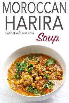 Authentic and traditional Harira soup recipe from Morocco that is enjoyed all year round, especially during Ramadan and Eid-al-Fitr. Nutritious and easily adapted to a vegetarian or vegan recipe. Best Soup Recipes, Healthy Soup Recipes, Dinner Recipes, Cooking Recipes, Tofu Recipes, Halal Recipes, Cooking Tips, Moroccan Soup, Morrocan Food