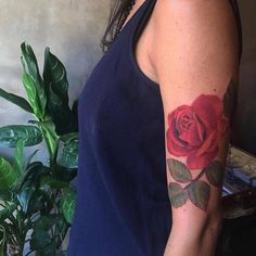 Red rose tattoo on the left upper arm.