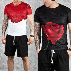 Rose pattern slim round t-shirts - 521 - NewStylish