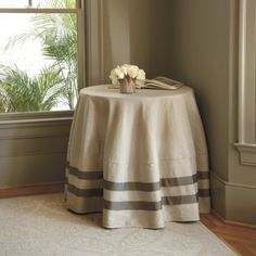 Deux Ribbon Round Tablecloth farmhouse-tablecloths