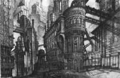 Beautiful industrial art deco, gothic metropolis designed by Anton Furst. Old Gotham City. Doctor Ojiplatico