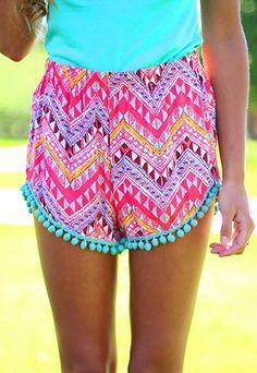Crazy Colorful Chevron Shorts