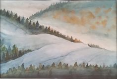 Aquarelle Misty hills by oftomorrow.deviantart.com on @DeviantArt #watercolor #landscape #painting #mountains