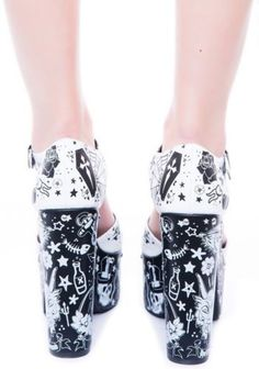 NEW-Too-Fast-Tattoo-Platform-Sandal-Chunky-Heel-Shoes-Coffin-13-Goth-Punk-Skull