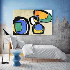 Vibrant Colorful Mid-Century Modern Green Blue Canvas Art Print, Mid Century Modern Canvas Art Print up to 72 by Irena Orlov Blue Canvas Art, Modern Canvas Art, Canvas Art Prints, Modern Art, Original Art, Original Paintings, Large Artwork, Mid Century Art, Bunt