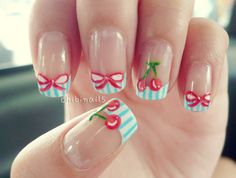 blue striped french tips with cherries & ribbons~