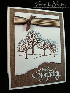 Silver and copper embossing powders, SU Lovely as a Tree, sympathy card, masculine card