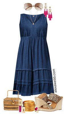 Plus Size Midi Dress Outfit Ideas with Summer Dresses Styled with Cheetah Sandals, Statement Earrings, and Rattan Clutch - Alexa Webb Midi Dress Outfit, The Dress, Dress Outfits, Fashion Outfits, Fashion Trends, Girly Outfits, Trendy Outfits, Fashion Wear, Fashion Clothes
