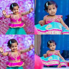 Adorable Kid Pink Blue Lehenga - Indian Dresses