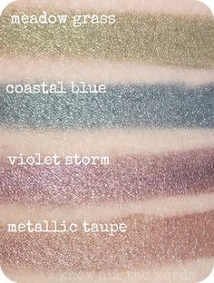 Mary Kay Cream Eye Colour $14- Pictured here in Meadow Grass, Coastal Blue, Violet Storm, and Metallic Taupe. Not pictured but also available is Beach Blonde, Iced Cocoa, Apricot Twist, and Pale Blush!! Get yours TODAY!!!!