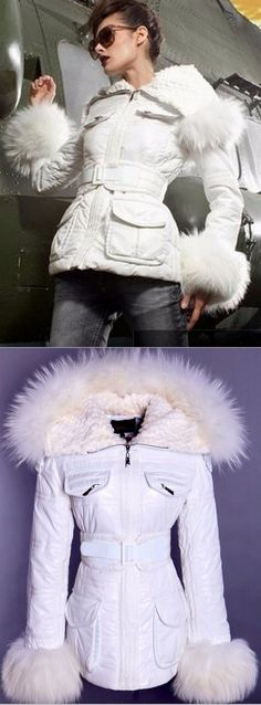 Fur-Trim Glossy Puffer Jacket, White