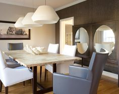 Interesting Lillian August Mirrors: Awesome Contemporary Dining Room Lillian August Mirrors With Wooden Tabletop Dining Table White Dining Chairs Grey Armchair Laminate Flooring Animal Picture On The Wall And Modern White Pendant Lamp ~ arkoop.com Furniture Inspiration