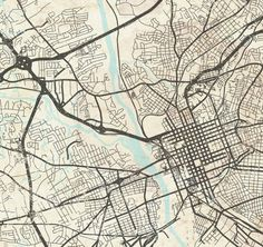 GREENSBORO NC Canvas Print North Carolina Vintage map Greensborough