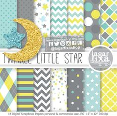 Little Star Baby Shower Theme, Digital Paper, Glitter Moon, star clipart, Patterns Baby Shower theme Digital Scrapbook Paper, Digital Papers, Digital Backgrounds, 2 Clipart, Star Clipart, Papel Chevron, Birthday Party Invitations, Baby Shower Invitations, Diy And Crafts