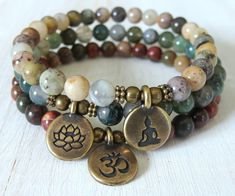 Yoga stack, Moss agate and Picasso Jasper, bracelet set, Reiki Charged, Yoga Jewelry, Diy Jewelry, Beaded Jewelry, Jewelery, Handmade Jewelry, Jewelry Making, Fashion Jewelry, Silver Jewelry, Cartier Jewelry