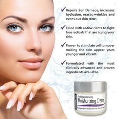 Click HERE to order on AMAZON Derma-nu Youth Regenerating Anti Aging Face Cream - Best Facial Moisturizer - Skin Treatment for Sun Damaged Skin and Wrinkles - PROVEN TO STIMULATE CELL TURNOVER, MAKING THE SKIN APPEAR YEARS YOUNGER AND VIBRANT - Created with the most clinically advanced and proven ingredients available. It is a turn-back-the-clock Skin Treatment product that every person should have. - FILLED WITH ANTIOXIDANTS THAT CAN REDUCE SKIN DAMAGE - #DailyFaceCare Anti Aging Facial, Anti Aging Tips, Best Anti Aging, Anti Aging Cream, Anti Aging Skin Care, Nu Skin, Oily Skin, Sensitive Skin, Anti Aging Treatments