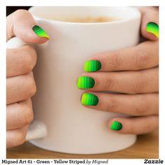Shop Migned Art 61 - Green - Yellow Striped Minx Nail Art created by Migned. Neon Nails, Yellow Nails, Neon Nail Polish, Tribal Nails, 3d Nails, Violet Pastel, The Violet, Wedding Nail Polish, Verde Neon