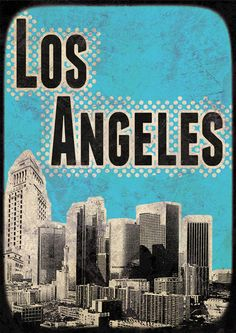 Los Angeles City Poster print Cityscape artwork  Mixed Media art on canvas Handmade Wall Decor large print. $29.00, via Etsy.