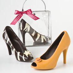 Orange/Dark Chocolate Peep-toe or Dark/White Chocolate Zebra Pump. What a great gift for girlfriends!