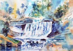 Watercolour print 'Waterfall Blue Ridge Carolina by johnmenage1, £10.00