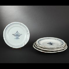 ROUEN, Forges-les-Eaux. Set of six earthenware platters
