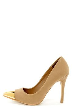 Check it out from Lulus.com! The Mixx Shuz Teresa Nude and Gold Cap-Toe Pointed Pumps are cute with a capital C! Velvety vegan suede high heels have a curvy silhouette with a chic pointed toe that's capped in shiny gold metal. 4
