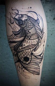 amazing blackline fish tattoo!