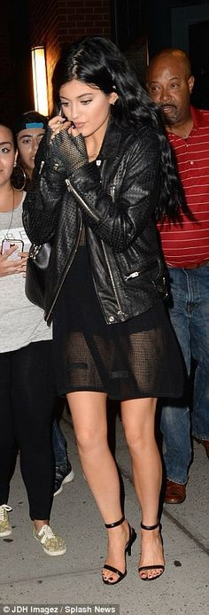 Kylie Jenner looks gorgeous in an all black ensemble - add chunky boots for autumn...x