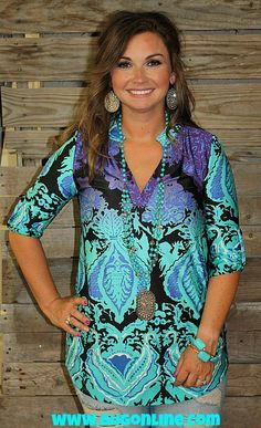 Days Go By Damask Top in Purple and Aqua