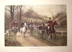 Large Vintage Fox Hunting Print - 'The First of November' by English Artist George Wright - Featured In 2 Treasury Lists. $95.00, via Etsy.