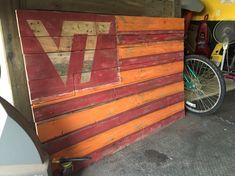 Virginia Tech Pallet Flag Wall Art Pallet Flag, Pallet Art, Pallet Projects, Art Projects, Virginia Tech Football, Virginia Tech Hokies, Vt Football, Creative Writing Stories, Sport Craft