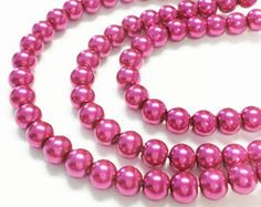 Bulk pearls pink, 65 faux pearls, 6mm glass pearls, dark pink pearls, faux pearls, colorful beads, jewelry making, craft supplies by vickysjewelrysupply. Explore more products on http://vickysjewelrysupply.etsy.com