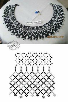 Esquema Diy Necklace Patterns, Seed Bead Patterns, Beaded Jewelry Patterns, Beading Patterns, Seed Bead Jewelry, Bead Jewellery, Jewelry Making Beads, Macrame Colar, Necklace Tutorial