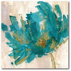 Contemporary Teal Flower Canvas Wall Art-WEB-AC180T - The Home Depot Flower Canvas Art, Abstract Canvas Wall Art, Canvas Artwork, Canvas Art Prints, Artwork Prints, Art Texture, Oil Painting Texture, Oil Painting Flowers, Abstract Flowers