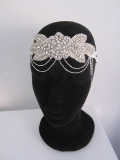 Bohemian/1920s white lace and rhinestone Art by PeacockandLotus, $65.00 https://www.etsy.com/au/listing/178316261/bohemian1920s-white-lace-and-rhinestone?ref=shop_home_active_3