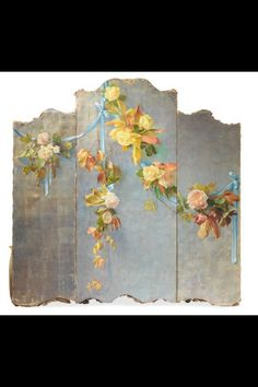 Miniature Printables - Painted roses on folding screen. Tole Painting, Figure Painting, Chinoiserie, Decoupage, Dressing Screen, Trumeau, Room Divider Screen, Room Dividers, Decorative Screens