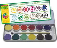 12 beautiful watercolours made from plant dyes such as turmeric, paprika, beetroot, nettles and elderberries. A totally natural product. Comes  in a tin and includes paint brush.  made in: Germany made of: plant based raw materials size: tin 23 x 9 cm