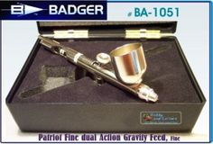 Badger BA1051 Patriot Airbrush Fine dual Action Gravity Feed, Fine w/Extra Tip