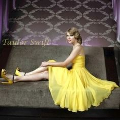 taylor swift yellow flowy dress and heels