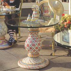MacKenzie-Childs - Carousel Pedestal Table Base Round Glass Table Top, Mackenzie Childs Furniture, Pedestal Table Base, Dining Chairs, Dining Table, Dining Room, Mackenzie Childs Inspired, Ceramic Table, Kitchen Furniture