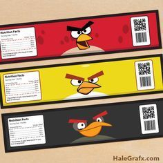 FREE Printable Angry Birds Water Bottle Labels