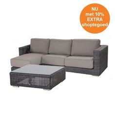 4 Seasons Outdoor Somerset loungeset met chaise longue - charcoal Wicker