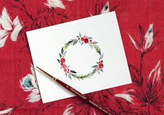 Watercolor Holiday Wreath Tutorial + Free Printable - Holiday wreaths christmas,Holiday crafts for kids to make,Holiday cookies christmas, Watercolor Christmas Cards, Christmas Drawing, Diy Christmas Cards, Christmas Paintings, Watercolor Cards, Xmas Cards, Christmas Art, Holiday Cards, Christmas Ornaments